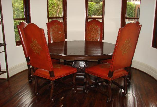 Romani Designs -Lorenso Dining red  leather chairs alexander dining table